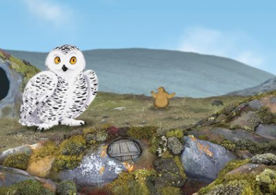 ᐅᒃᐱᔾᔪᐊᖅ ᐊᒻᒪ ᐊᕕᖖᒐᖅ The Owl and the Lemming (Inuktitut)